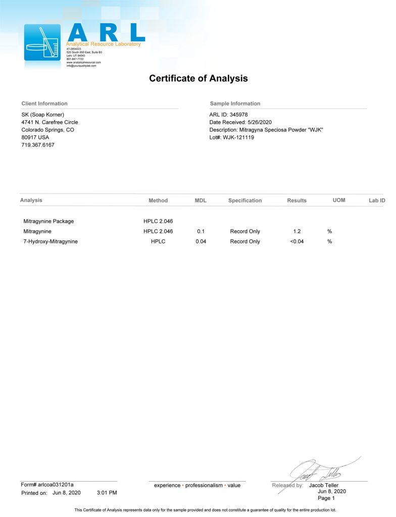 White Jong Kong Lab Analysis